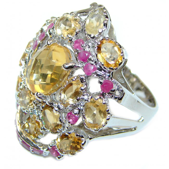 Large Stunning Fresh Lemon Quartz .925 Sterling Silver handmade ring s. 8