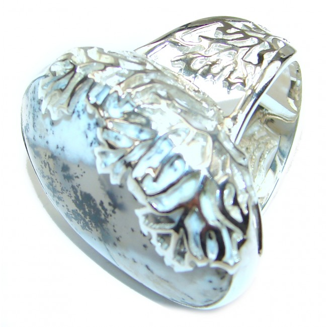 Best quality Dendritic Agate .925 Sterling Silver Ring size 7 adjustable