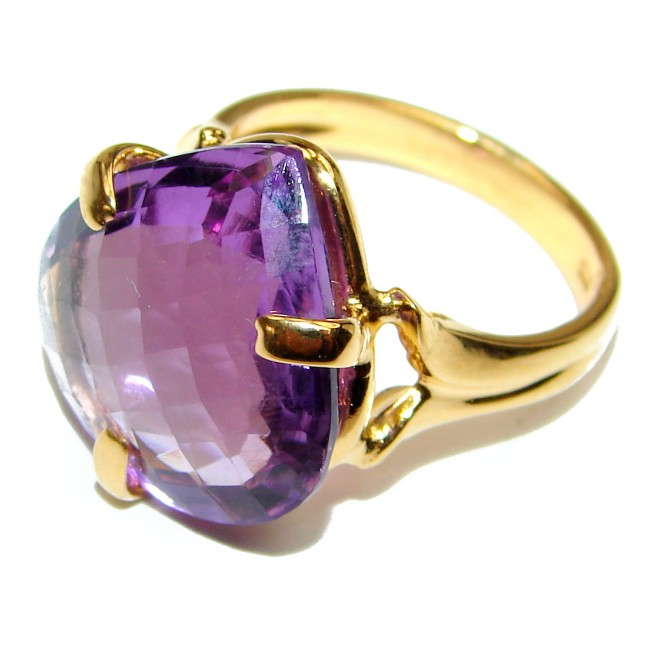Authentic Pear cut 48ctw Amethyst 24K gold over .925 Sterling Silver brilliantly handcrafted ring s. 7