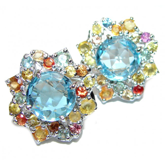 Incredible Swiss Blue Topaz multicolor Sapphire .925 Sterling Silver handcrafted HUGE earrings