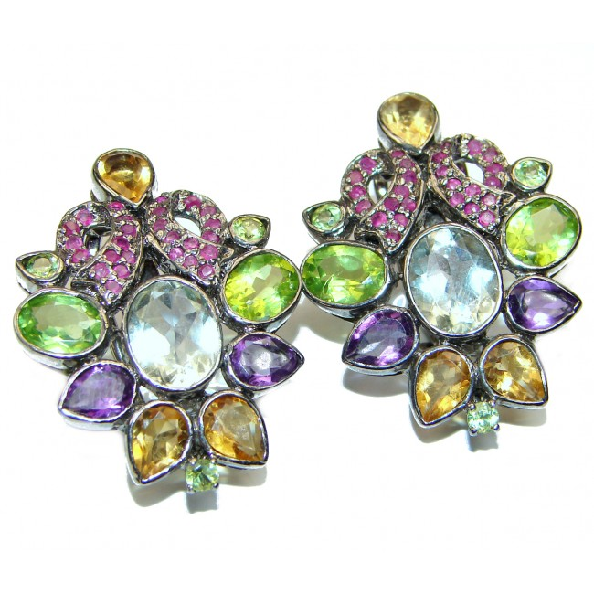 Gianna Authentic Multigem .925 Sterling Silver brilliantly handcrafted earrings