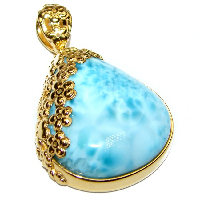 Great quality Larimar from Dominican Republic 24K Gold over .925 Sterling Silver handmade Huge pendant