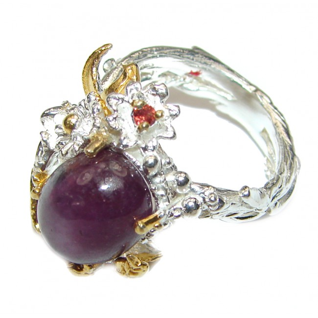 Genuine Star Ruby 2 tones .925 Sterling Silver handcrafted Statement Ring size 6 1/4