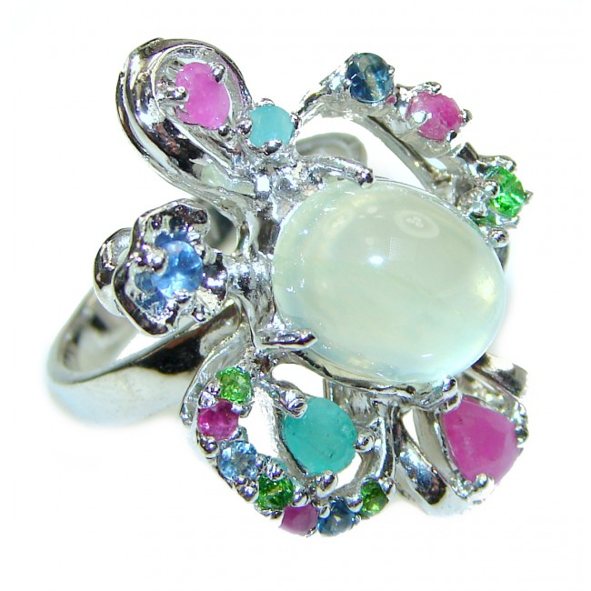 Isabella Prehnite .925 Sterling Silver handcrafted Statement Ring size 7 1/2