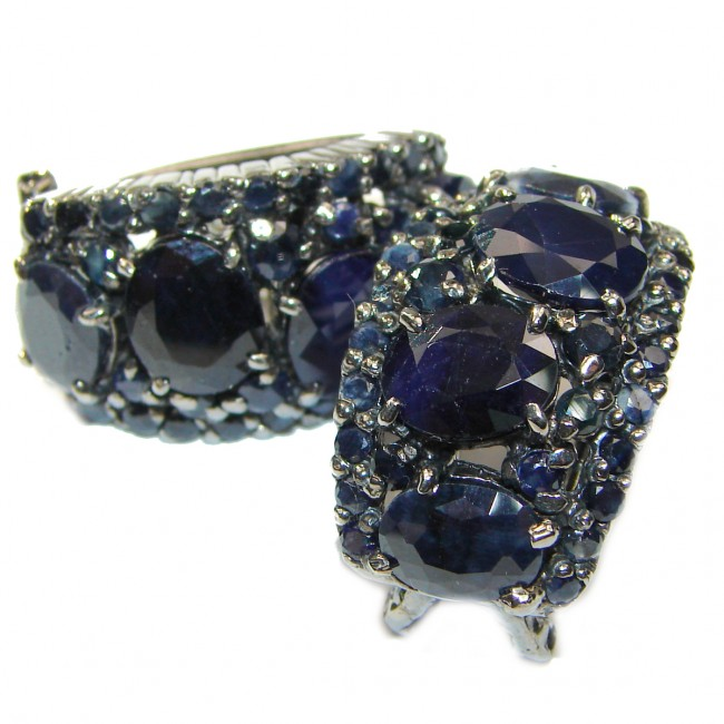 Red CARPET STYLE Authentic Sapphire black rhodium over .925 Sterling Silver handcrafted earrings