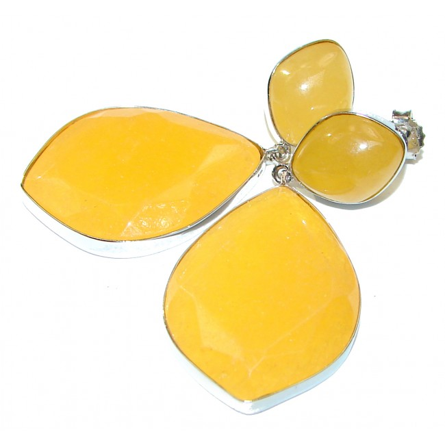 Large Excellent Golden Calcite Prehnite Sterling Silver earrings