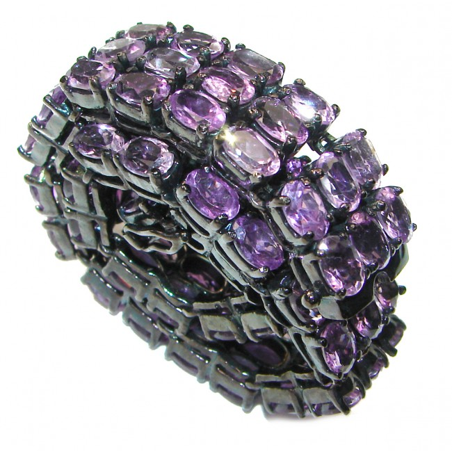 Huge African Amethyst black rhodium over .925 Sterling Silver handcrafted Bracelet