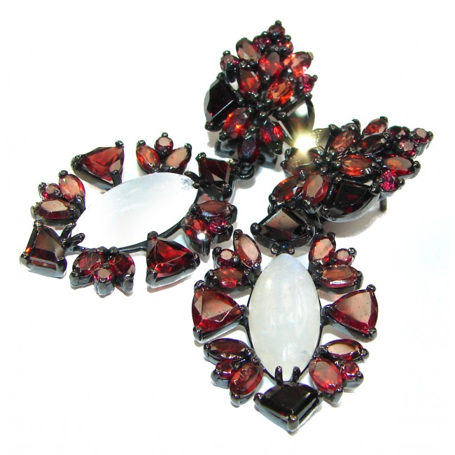 Genuine Fire Moonstone Garnet black rhodium over .925 Sterling Silver handcrafted Earrings