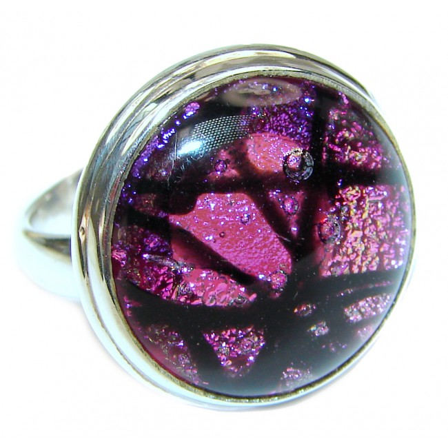 Mystical Night Dichroic Glass .925 Sterling Silver handcrafted Ring s. 8 3/4