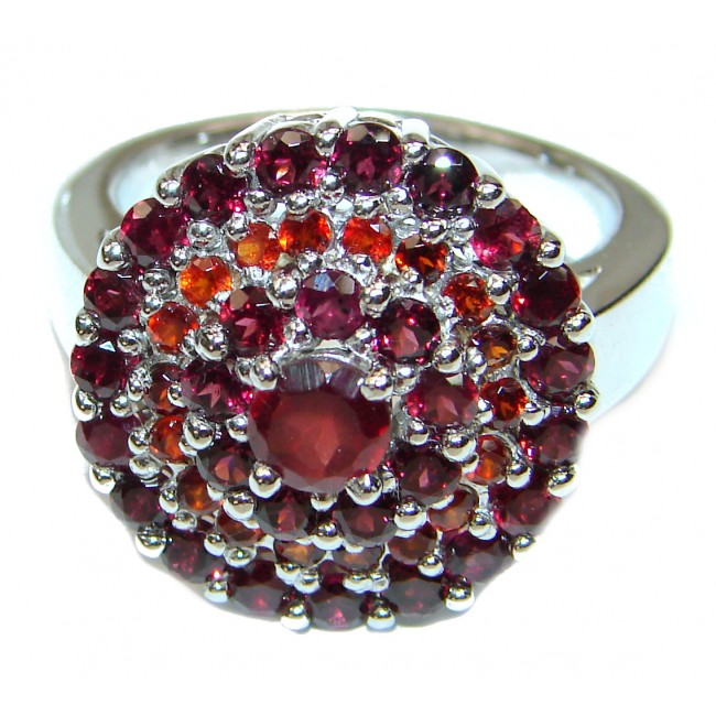 Laura Authentic Garnet .925 Sterling Silver brilliantly handcrafted ring s. 9 3/4