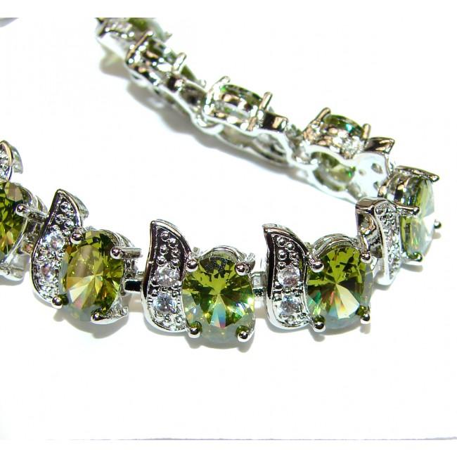 Peridot Bracelet 925 Sterling Silver Bracelet Gift Peridot Bracelet Silver Handmade Jewelry Prehnite Bracelet Prehnite Bracelet Silver