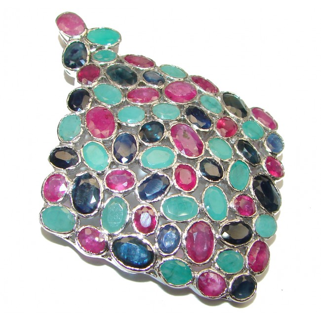 SPECTACULAR Genuine Kashmir Ruby Emerald Sapphire .925 Sterling Silver handmade Pendant - Brooch