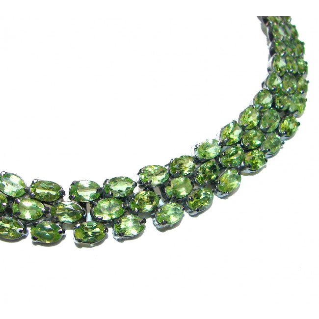 Melissa LARGE Great Masterpiece genuine Peridot .925 Sterling Silver handmade necklace
