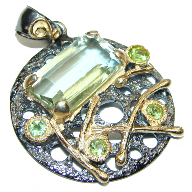 Green Amethyst 14K Gold Rhodium over .925 Sterling Silver Pendant