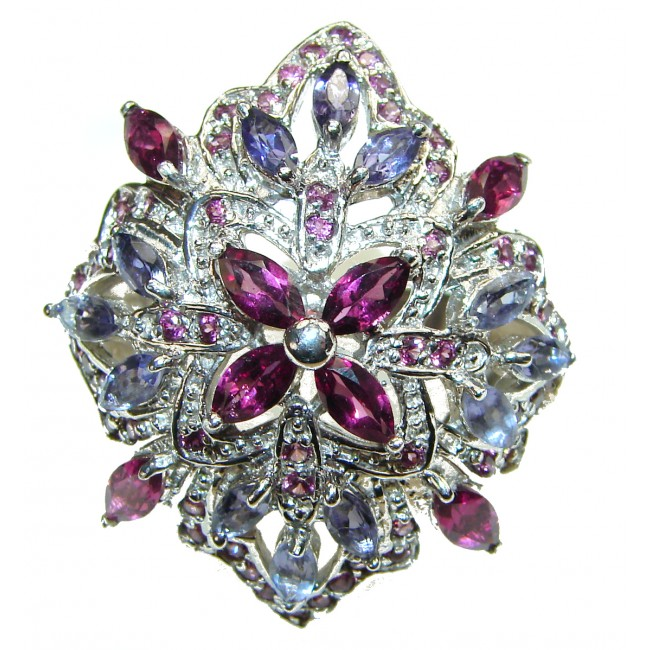 Laura Authentic Garnet Tanzanite .925 Sterling Silver brilliantly handcrafted ring s. 8 1/4