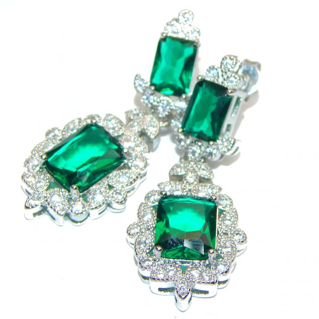 Incredible Authentic Emerald .925 Sterling Silver handmade earrings