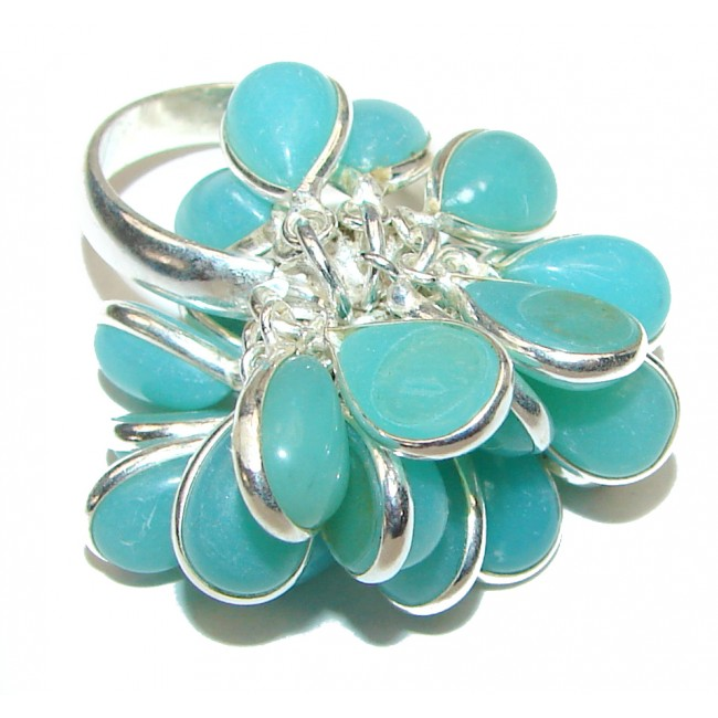 Aquamarine .925 Sterling Silver handcrafted cha-cha Ring s. 8