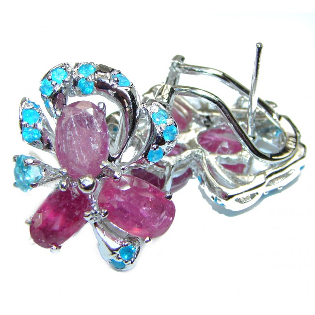 Incredible quality authentic Ruby .925 Sterling Silver handcrafted earrings