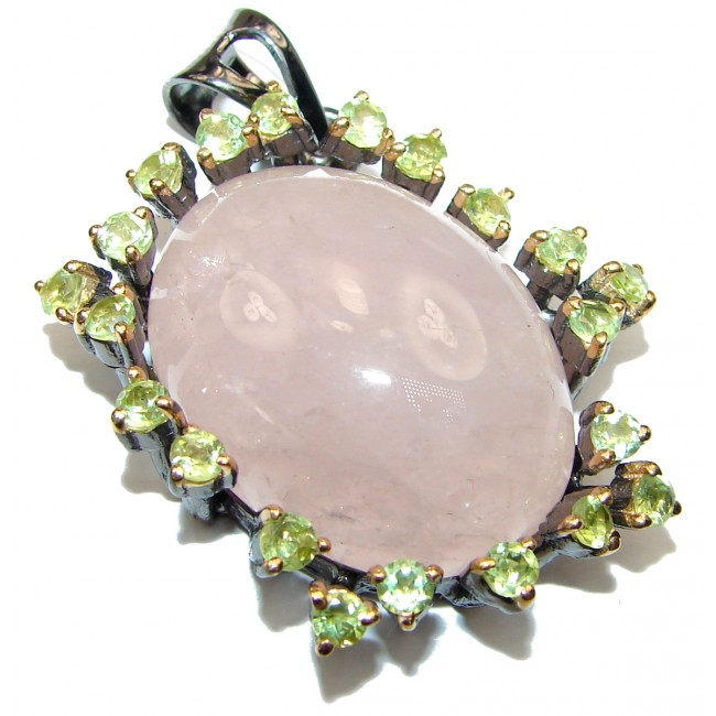 Pink Power 35ct Rose Quartz .925 Sterling Silver handcrafted Pendant