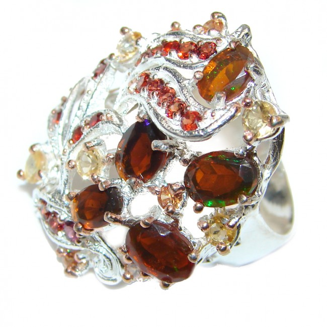 Golden Flames Genuine Mexican Opal .925 Sterling Silver handmade HUGE Ring size 8 1/4