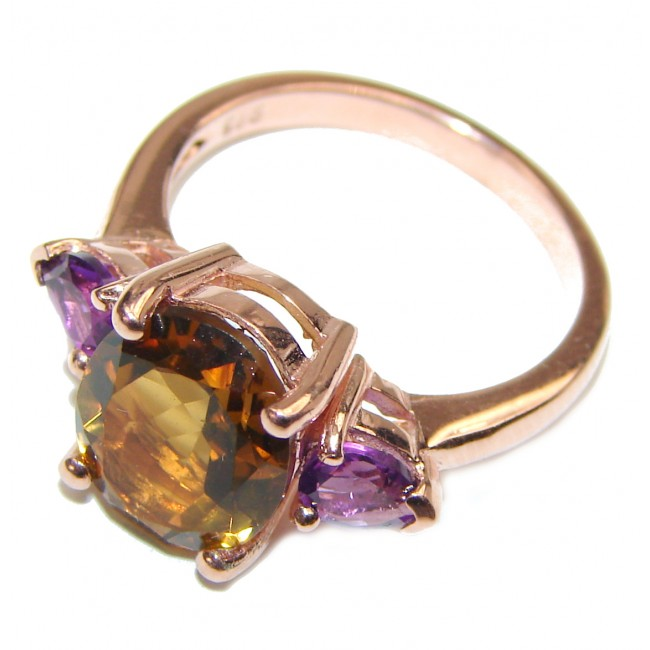 Champagne Smoky Topaz rose gold over .925 Sterling Silver Ring size 7 1/4