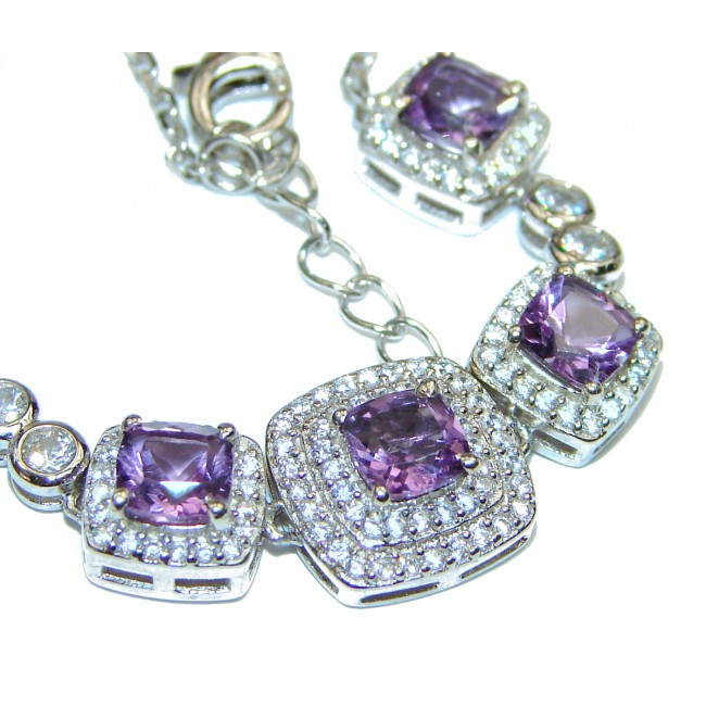 Violet Flame Luxury Authentic Amethyst .925 Sterling Silver handmade Bracelet