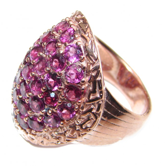 Posh Authentic Garnet rose gold over .925 Sterling Silver brilliantly handcrafted ring s. 7 3/4