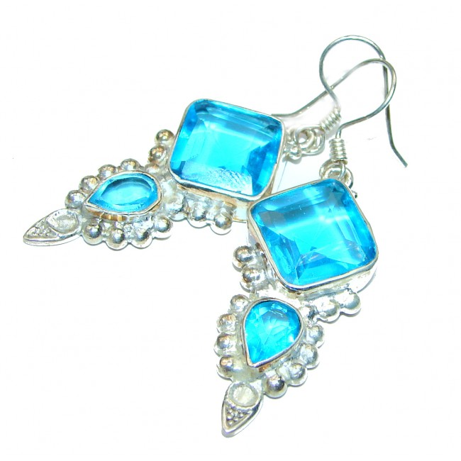 Great Aqua Blue Topaz .925 Sterling Silver handcrafted earrings