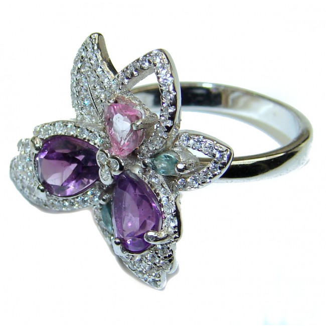 Authentic Amethyst .925 Sterling Silver handmade Ring size 8
