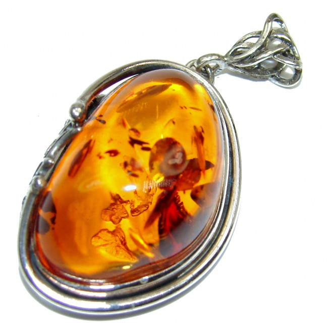 Incredible Beauty Natural Baltic Amber .925 Sterling Silver handmade Pendant