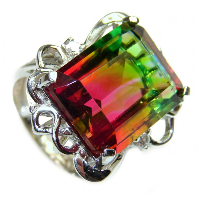 Spectacular Natural emerald cut Tourmaline .925 Sterling Silver handcrafted ring size 7