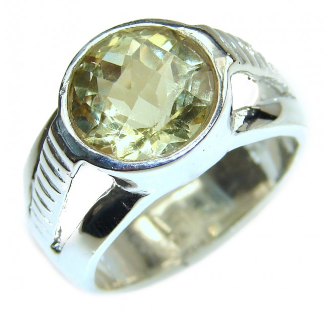 Cocktail Style Natural Citrine .925 Sterling Silver handcrafted Ring s. 7