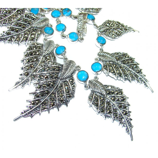 GO West Chunky Turquoise Marcaiste .925 Sterling Silver handcrafted necklace