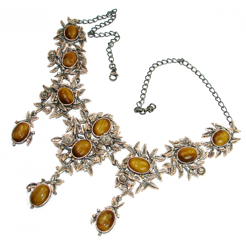 Tiger's Eye and Peridot Silver Statement Necklace