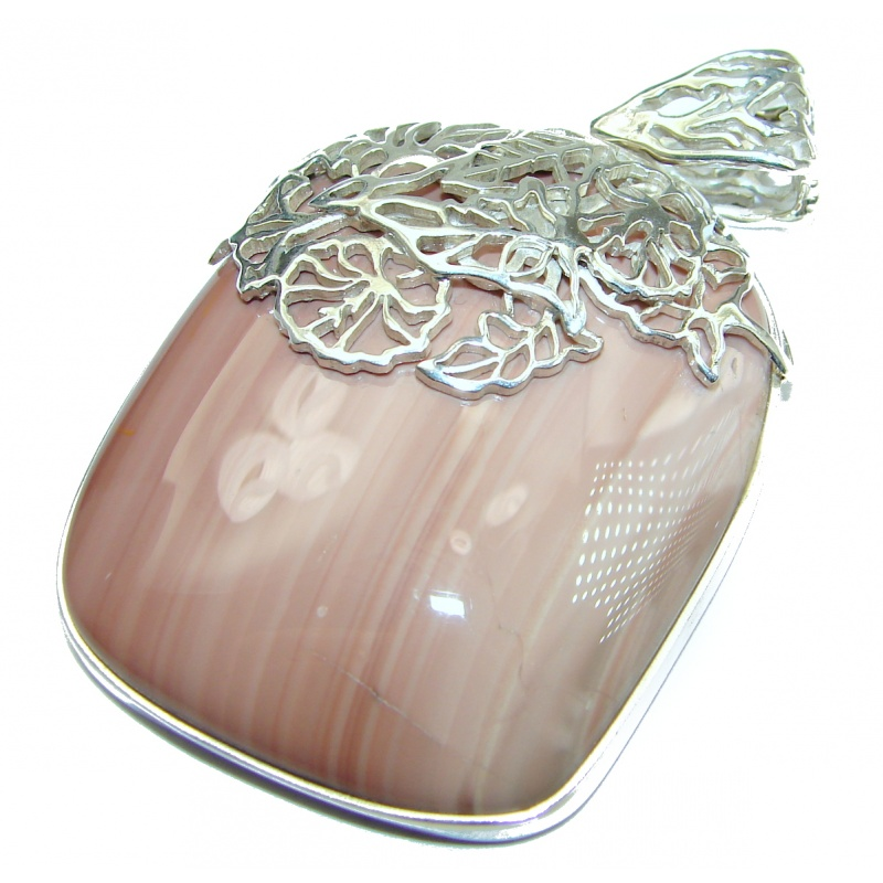 Imperial Jasper square pendant with floral silver bail