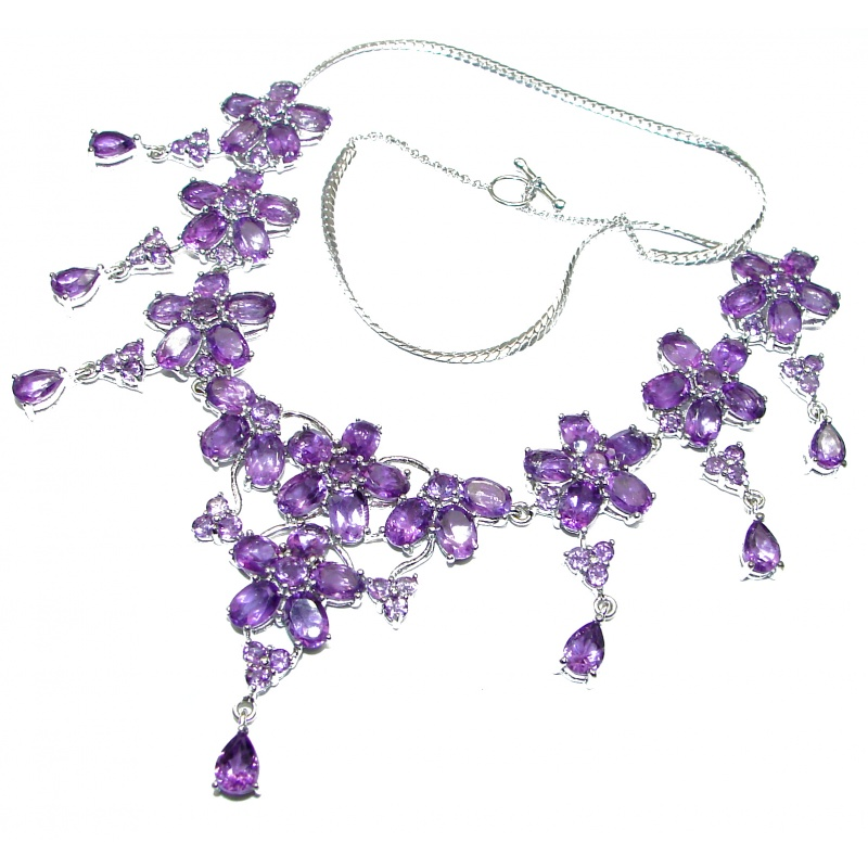 Amethyst Floral Statement Necklace