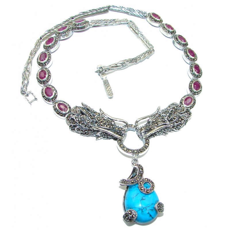 Turquoise Marcasite Ruby Double Dragon Necklace