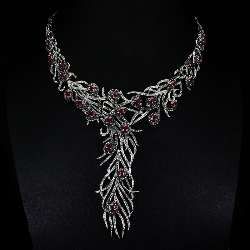 Ruby Peacock Statement Necklace