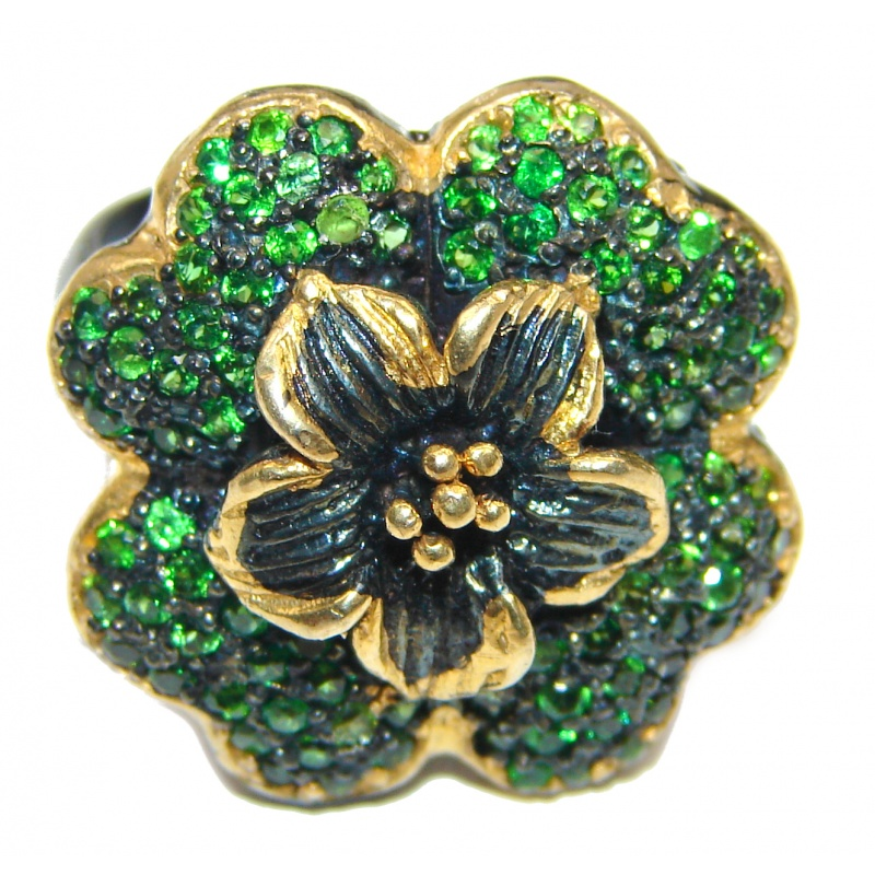 Chrome Diopside Floral Clover Statement Ring