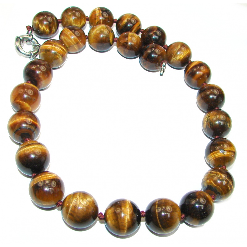 Hand Knotted Tiger's Eye Beaded Necklace