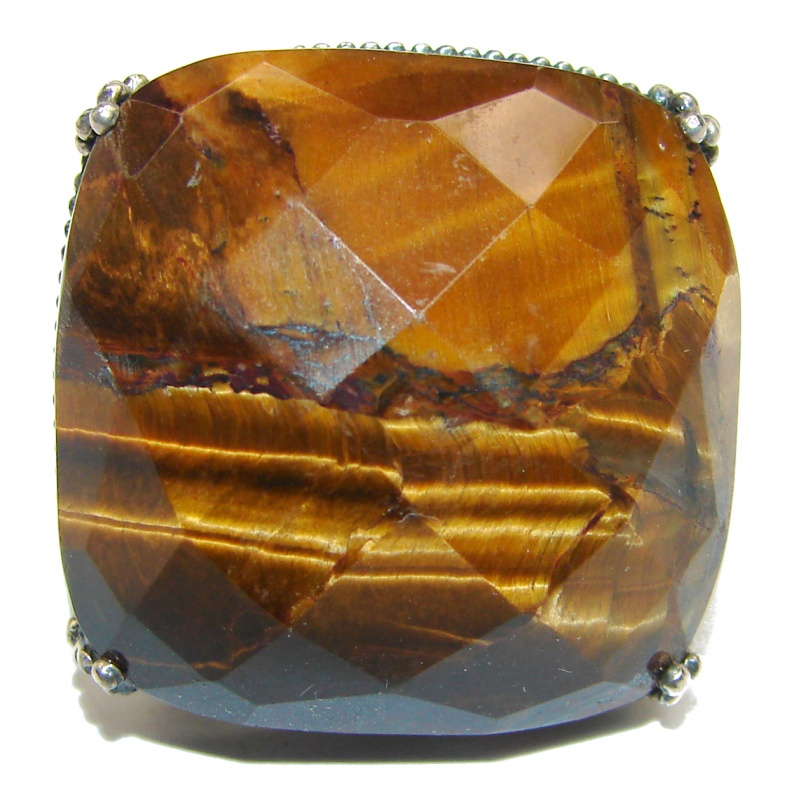 Chuny Faceted Tiger's Eye Silver Ring