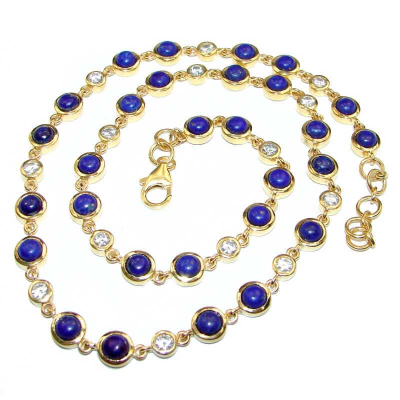 Lapis and White Topaz Necklace