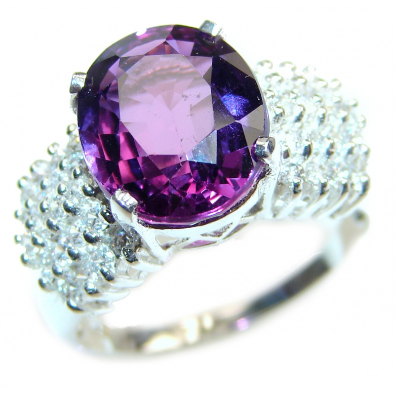 Amethyst Bumpy Silver Bubble Textured Ring