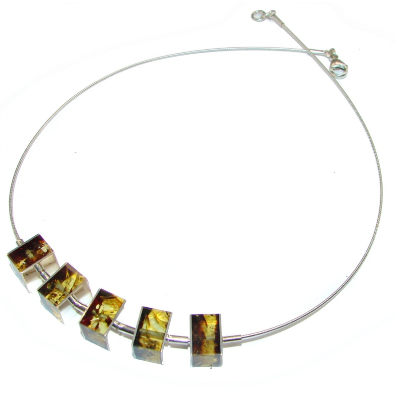 Amber Geometric Cut Necklace