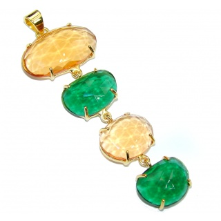 Exclusive! Golden Quartz & Green Quartz 18K Gold Plated Sterling Silver Pendant / Long