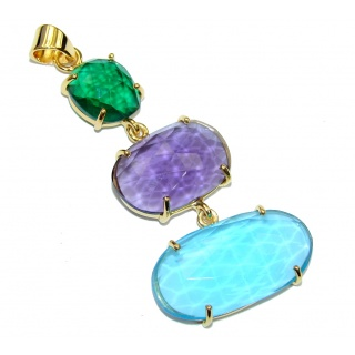 Fabulous! Blue & Green & Purple Quartz 18K Gold Plated Sterling Silver Pendant