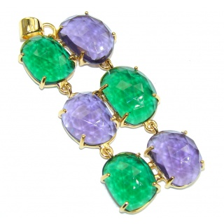 Secret Beauty! Green & Purple Quartz 18K Gold Plated Sterling Silver Pendant
