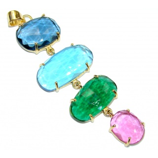 Awesome Design! Multicolor Quartz 18K Gold Plated Sterling Silver Pendant / Long