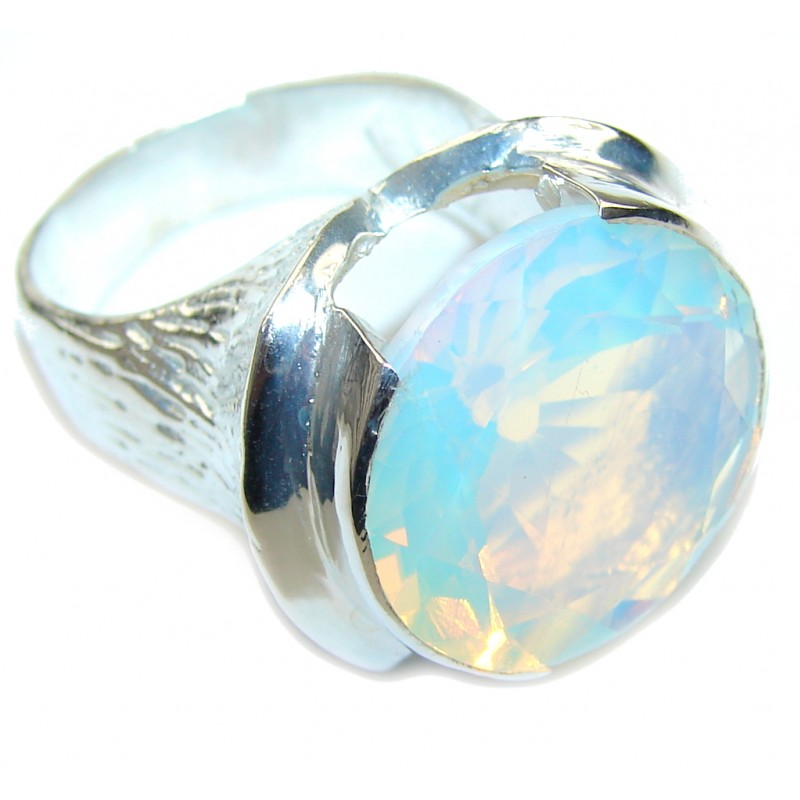Delicate Created Opalite Silver Overlay Ring s. 9 1/4