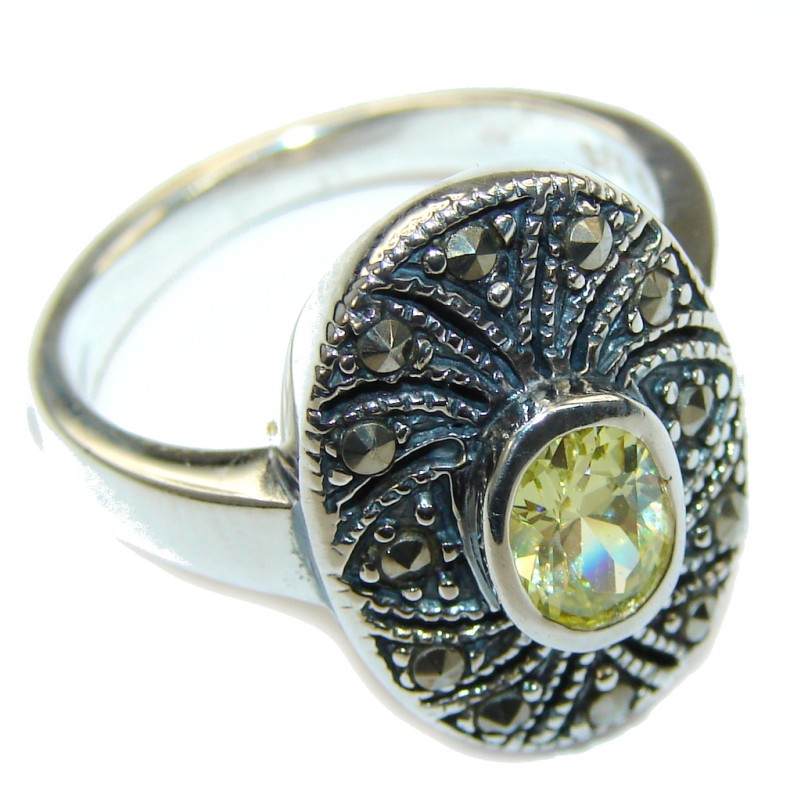 Fashion Beauty Marcasite & Yellow Quartz Sterling Silver ring s. 9